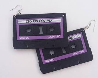 Old School Wooden Earrings-Purple Label