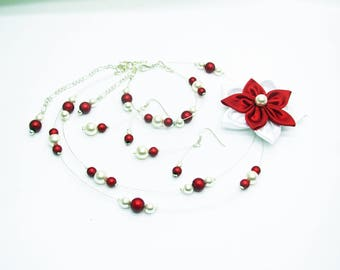 Red and white flower wedding dress satin pearls and magical, wedding necklace