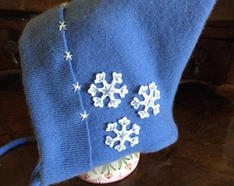 "Child's Blue Cashmere ""Pixie"" Hat/Blue Reclaimed/Repurposed/Up Cycled Cashmere/OOAK/Small"