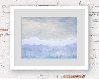 blue abstract landscape, blue mountain art, blue forest art print, blue minimal art, blue grey boys art, blue baby boys room, landscape art