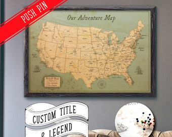 Large Personalized Push Pin World Map X Rustic - Usa large wall map