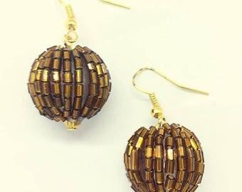 Brown Sequin Earrings