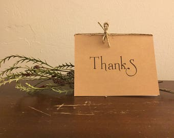 Thanks! Thank you note. Handmade Greeting Card with Envelope - Recycled paper