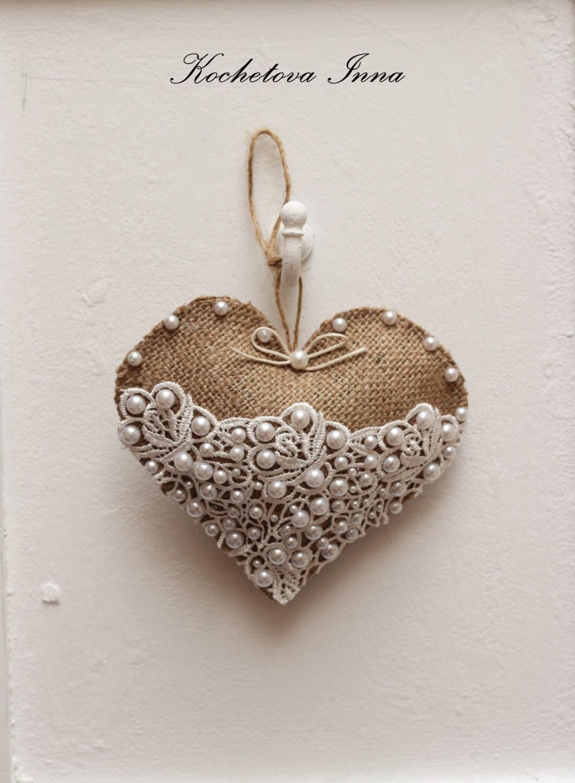 Burlap lace heart ornaments home decor ornaments by for Lace home decor