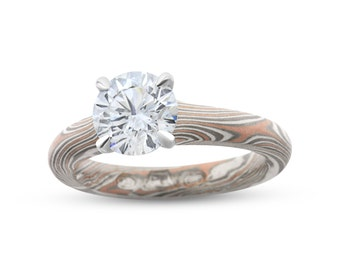 Classic 4 Claw Diamond Mokume Gane Ring