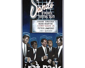 Old Las Vegas Serigraph Frank Sinatra, Dean Martin, Sammy Davis Jr., Joey Bishop and Peter Lawford THE RAT PACK Comes With Certificate