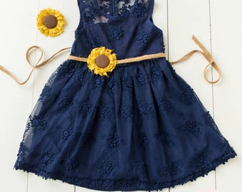 Flower girl dress, rustic flower girl dress,country flower girl ,burlap flower girl dress,Navy Blue lace flower girl dress, Sunflower Dress,