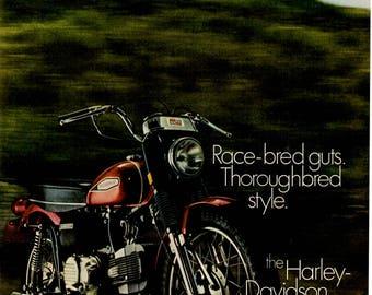 1970 Harley Davidson Motorcycle Vintage Motorcycle magazine ad wall decor (1705)