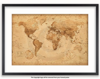 Antique Vintage Style Modern World Map Poster