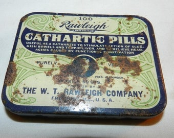 Rawleigh Cathartic Pills tin - Vintage Household Collectible Advertising Tin- to stimulate sluggish bowels + Torpid Liver Medicine tin 43-25