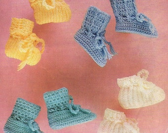 Baby Bootees, Knit And Crochet Pattern. PDF Instant Download.