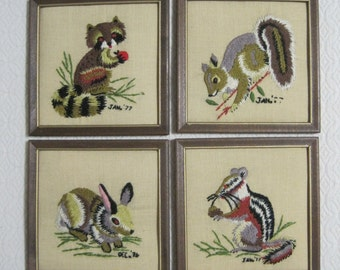 "Crewel Embroidery, ""Forest Friends"", Set of 4, Raccoon, Squirrel, Rabbit, Chipmunk, Framed, 1977, Vintage"