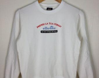Rare !! Vintage ELLESSE Prendi La Tua Forza! White Pullover Sweatshirt Ladies Medium Size
