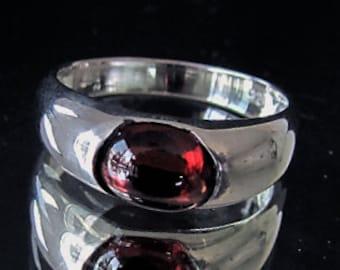 Sterling silver natural red Garnet gemstone ring Pyropos 3