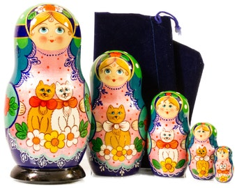 """Russian Nesting Doll - """"Two Cats in Love"""" - MEDIUM SIZE - 5 dolls in 1 - Hand Painted in Russia - Traditional Matryoshka Babushka"""
