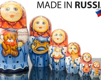 "Russian Nesting Doll - ""Masha. Toys Collection."" - BIG SIZE - 7 dolls in 1 - Hand Painted in Russia - Matryoshka Babushka"