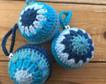 Handmade Crochet shades of blue Retro Christmas Baubles Set of 3