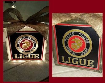 Personalized 8x8 Marine Corps lighted glass block