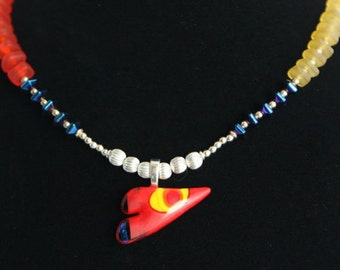 COLORFUL WHIMSICAL HEART Necklace (Handcrafted)