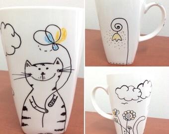 Cat lover gift \ Cat lover coffe cup \ Porcelain mug \ Tea cup \ Mug with cat \ Cat lover gift \ Mr. & Mrs Cat \ Tea mug \ Coffe mug \
