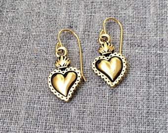 Gold Sacred Heart earrings / Antique gold plated Sacred Heart earrings