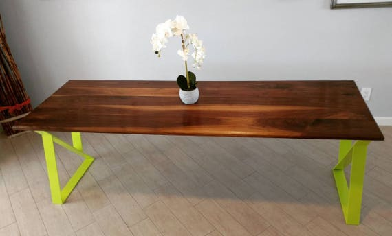 Mid Century Modern Black Walnut Dining Table with Lime Green legs