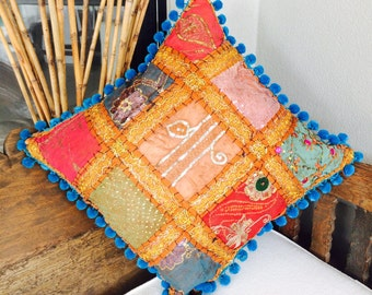 Square Cushion Cover Hemp Linen, Indian Embroidery, Pom-pom