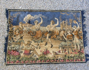 Vintage velvet silk or rayon tapestry with dancers and a volcano