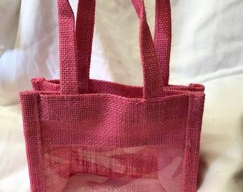 Pink Jute Window Gift Bag, Jam Gift Bag, Natural Gift Bag, Tote Bag, Wedding Gift Bag, Rustic Bag, Burlap Bag, Wedding Favour Bag, Party Bag