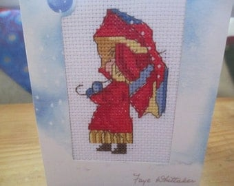 Christmas Card Handmade Cross Stitch Child