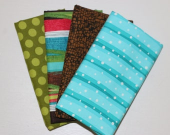SALE - 4 Fat Quarters (teal, green, brown) - Cotton fabric