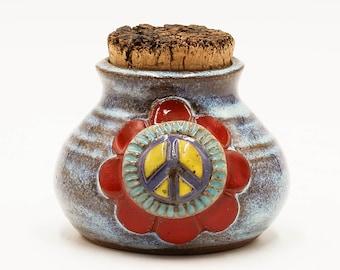 Blue Peace Sign Stash Jar | Stash Jar | Herb Jar | Cork Jar | Pottery | Ceramic | Stoneware | Pottery Cork Jar | Ceramic Cork Jar