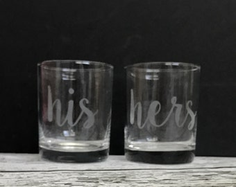 His & Hers Glass Set // His and Hers Drinking Glasses // His and Hers Etched Glass Set