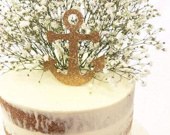 Anchor Cake Topper, Gold Glitter Topper, Nautical Theme, Celebration, Birthday Party, Cake Decoration