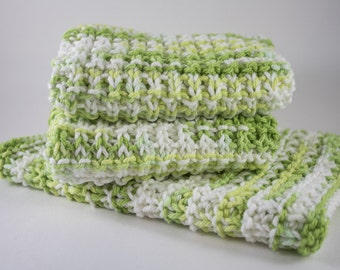Hand Knit Dishcloth Set - Hand Knit Washcloth - Green/White - Mix
