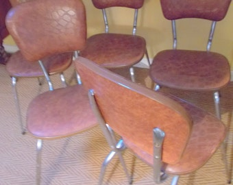 vintage chairs, retro chrome/vinyl chairs, 5 old French chairs
