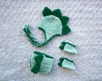 Dinosaur Hat, Diaper Cover and Shoes Crochet Set