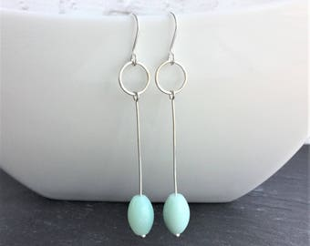 Amazonite gemstone earrings, blue earrings, dangle earrings, drop earrings, gemstone earrings, beach earrings, beaded earrings