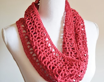 Lacy lightweight knit summer cowl scarf