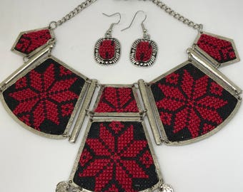 Red and Black Palestinian Hand Embroidered Necklace