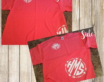 Side Monogram and front monogram tshirt