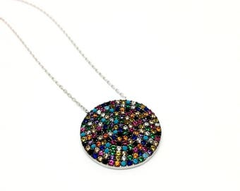 925 Sterling Silver Multicolour Round Necklace
