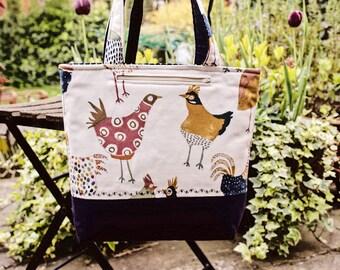 Tote bag, handbag, daybag, padded shoulder bag, chickens