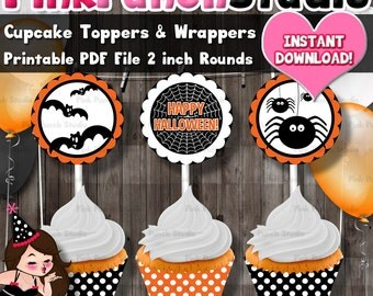 DIY Printable Happy Halloween Party 2 inch Round Cupcake Toppers and Wrappers PDF File