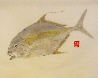 Gyotaku     Trevally Jack     Sea of Cortez