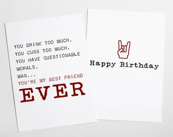 DIGITAL Funny Birthday Card - Birthday Card for Best Friend- Happy Birthday Card - Drink CusCard - Rock'N'Roll Card - Double Side Card