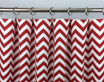 Red Chevron Curtains  - FREE SHIPPING - Lipstick Red Drapes - Rod Pocket - Grommets - Lined/Unlined - Valance- 24 50 x 84 96 108 120 Panels