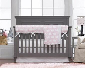 Millennial Pink Whales 4 pc. Crib Set   Bumperless Crib Bedding   Nautical Baby Bedding