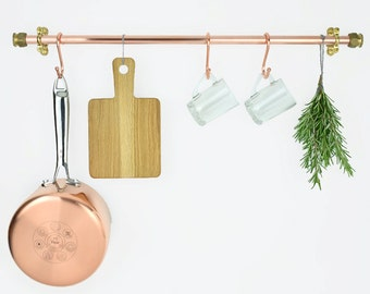 Handmade Copper and Brass Pot And Pan Rack/Rail,