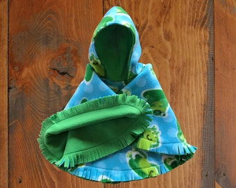 Green with Turtles Reversible Car Seat Poncho with Hood